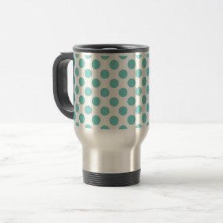 Aqua Polka Dots Travel Mug