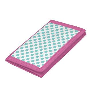 Aqua Polka Dots Tri-fold Wallet