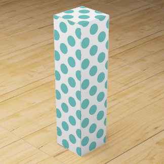 Aqua Polka Dots Wine Gift Box