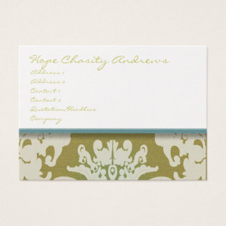 Aqua Pool Blue and Gold Damask Floral - Business Card