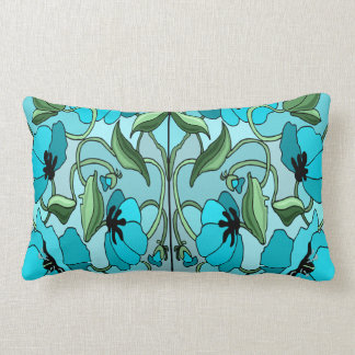 Aqua Poppy design  Throw pillow