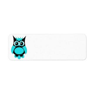 Aqua Punk Owl Label Return Address Label