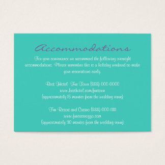 Aqua Purple Insert Reception & Accommodation Cards