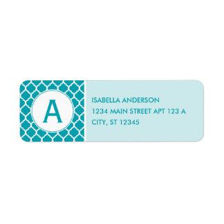 Aqua Quatrefoil Monogram Return Address Label