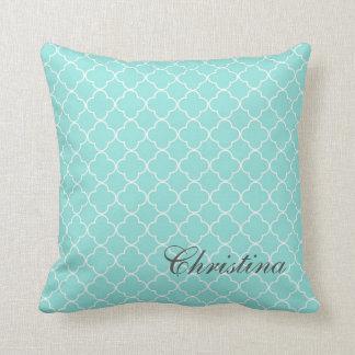 Aqua Quatrefoil Pattern Monogram Pillow