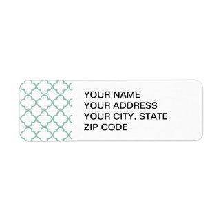 Aqua Quatrefoil Pattern Return Address Label