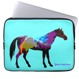 Aqua Race Horse Laptop Sleeve