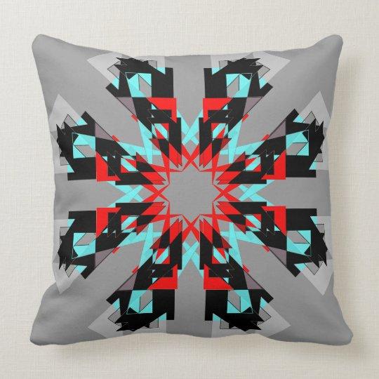 Aqua Red Black Grey Bold Modern Designer Pillow