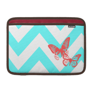 Aqua & Red Chevron Butterflies MacBook Air Sleeve