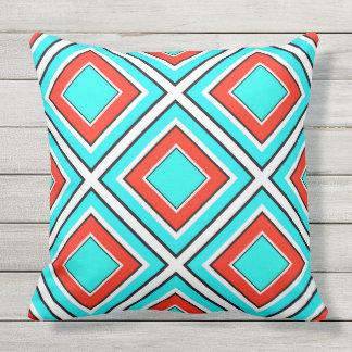 Aqua Red Geometric Outdoor Pillow
