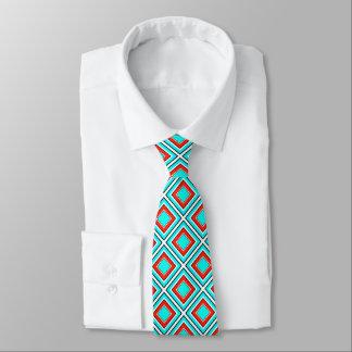 Aqua Red Geometric Tie