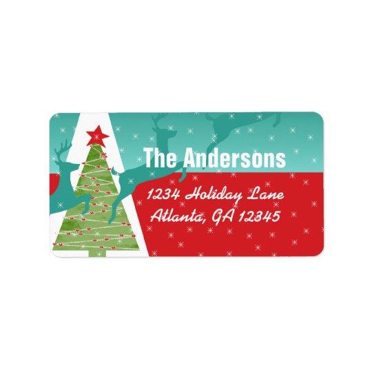 Aqua Red Retro Reindeer Tree Large Return Address Label