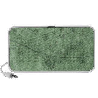 Aqua Retro Flowers and Butterflies Abstract Portable Speaker