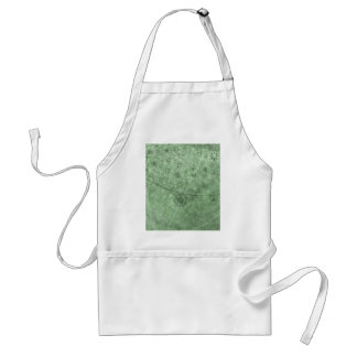 Aqua Retro Flowers and Butterflies Abstract Standard Apron