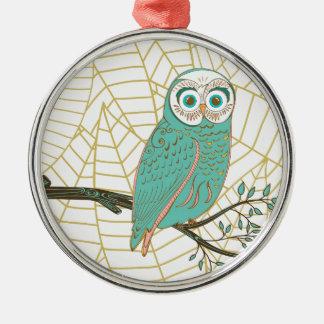 Aqua Retro Owl Design Silver-Colored Round Ornament