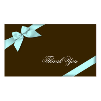 Aqua Ribbon Thank You Minicard Business Card