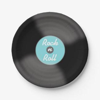 Aqua Rock N Roll Record Party Paper Plates