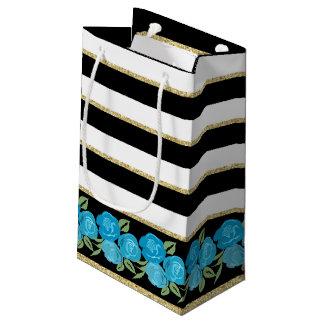 Aqua Roses on Black, White, Gold Gift Bag