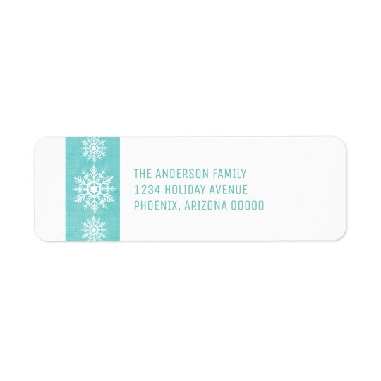 Aqua Rustic Snowflake Holiday Return Address Label