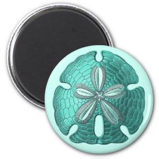Aqua Sand Dollar 2 Inch Round Magnet