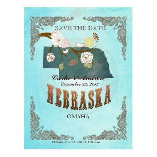 Aqua Save The Date -Nebraska Map With Lovely Birds Postcard