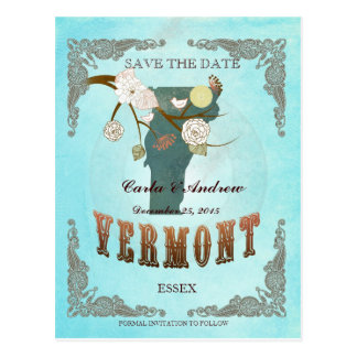 Aqua Save The Date -Vermont Map With Lovely Birds Postcard