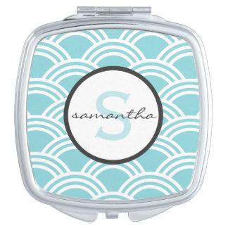Aqua Scallop Monogram Makeup Mirror