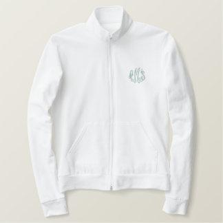 Aqua Script Embroidered Monogram Fleece Jacket
