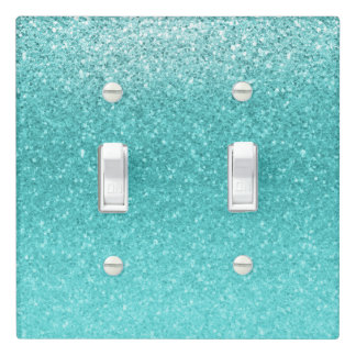Aqua Sea Blue Glitter Sparkle Glamour Chic Light Switch Cover