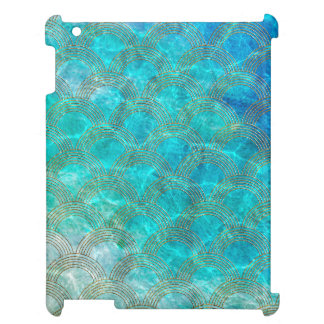 Aqua sea Mermaidscales with gold glitter frame iPad Covers
