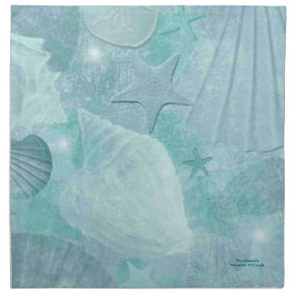 Aqua Sea Shell Custom Cotton Napkins