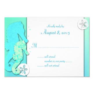 Aqua Seahorse Whimsical Wedding Reply Cards