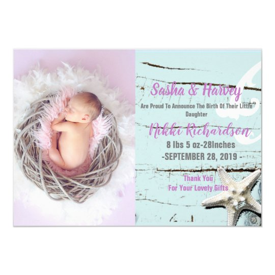 aqua seashell beach Baby Birth Announcement photo