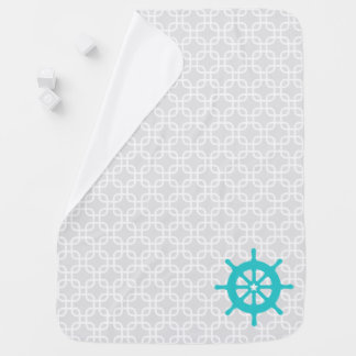 Aqua Ship Wheel Nautical Nursery Baby Blanket