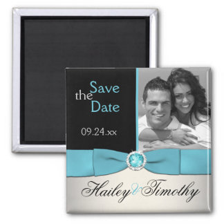Aqua, Silver, and Black Save the Date Photo Magnet