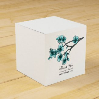 Aqua Simple Cherry Blossoms Favour Boxes