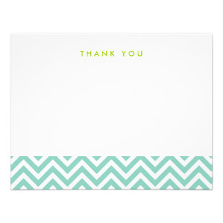 Aqua Simple Chevron Thank You Note Cards
