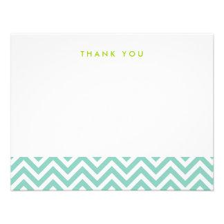 Aqua Simple Chevron Thank You Note Cards