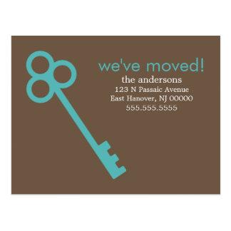 Aqua Skeleton Key Moving Announcements Postcard