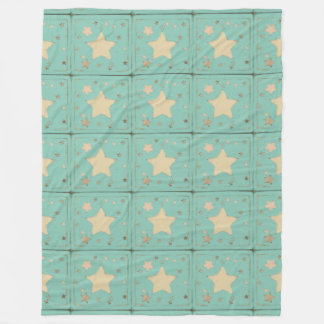 Aqua Sketch Pastel Distressed Muted Stars Pattern Fleece Blanket