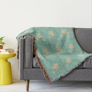 Aqua Sketch Pastel Distressed Muted Stars Pattern Throw Blanket
