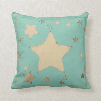 Aqua Sketch Pastel Distressed Muted Stars Pattern Throw Pillow