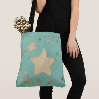 Aqua Sketch Pastel Distressed Muted Stars Pattern Tote Bag