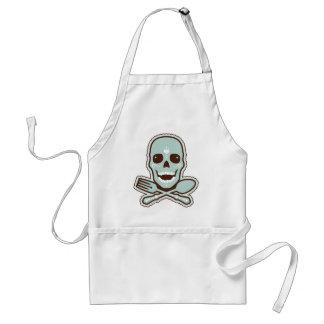 Aqua Skull & Flatware Standard Apron