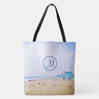 Aqua sky beach photo custom monogram tote bag