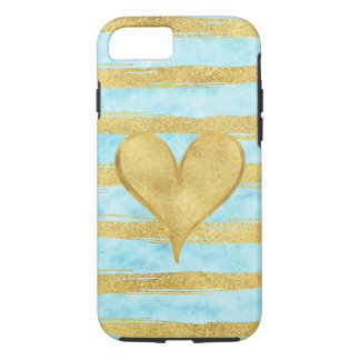 Aqua Sky Gold Glam Watercolor Stripes Heart iPhone 8/7 Case