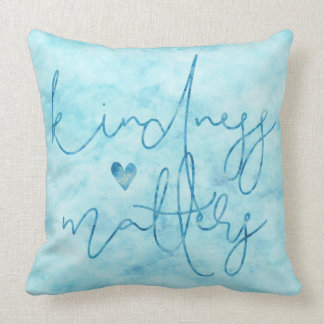 Aqua Sky Watercolor Kindness Matters Heart Throw Pillow