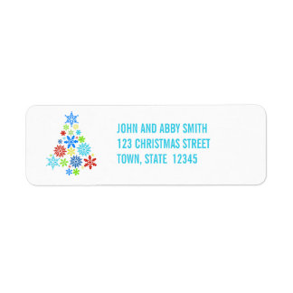 AQUA SNOWFLAKES CHRISTMAS TREE RETURN ADDRESS
