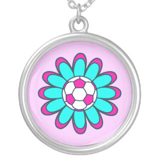 Aqua Soccer Girl Silver Plated Necklace