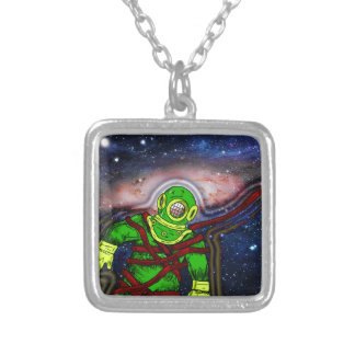 Aqua Space Man Silver Plated Necklace